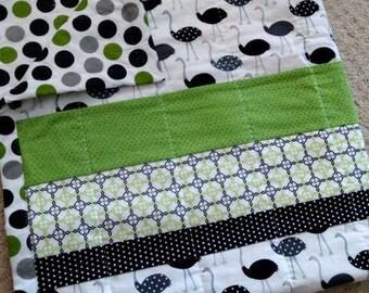 Modern Baby Quilt, Baby Quilt, PolkaDotOstrich Quilt, Handquilted Baby Quilt, Toddler Quilt, Baby Gift, Baby Strip Quilt