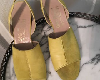 1960s Salvatore Ferragamo Wedge Sandals Lime Green