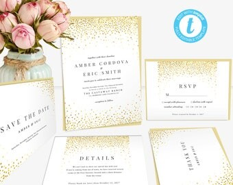 Gold Sequins Wedding Invitation Template, Shimmer Glitter Wedding Suite, Printable Invitation, DIY Wedding Invite with RSVP, Save the Date..