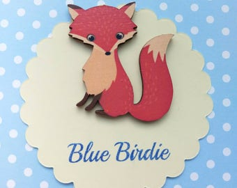 Fox brooch fox jewelry fox badge wooden fox brooch fox jewellery cute fox jewelry fox gift