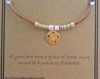 Sand dollar charm bracelet, leather beaded bracelet, beach ocean sea inspired, leather wrap, womens leather bracelet, quote card, gift idea