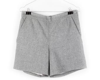 Handmade / Upcycled high waisted tailored shorts, 100% grey wool, made in Denmark, size 36 (EU)
