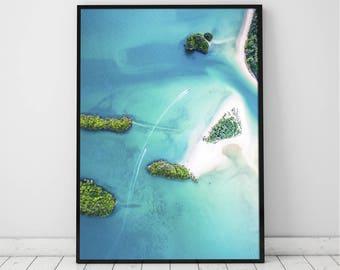 Arial view coastal, Ocean Art Print, Waves, Water, Coastal Wall Decor, Beach Art, Large Printable Poster, Digital Download, Turquoise Blue