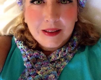 Crocheted Shell Stitch Beret & Scarf - 64 Color Options