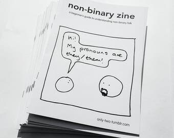 Non-binary Zine by only-two comics - lgbtq non binary genderqueer trans transgender comic 101 pronoun pronouns they queer lgbt coming out