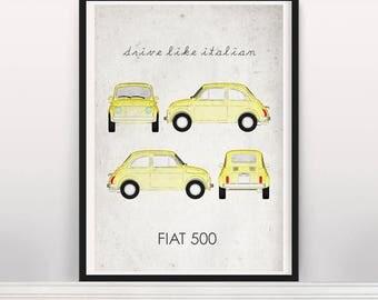 Drive like Italian . Fiat 500. Poster
