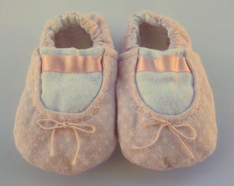 Pink Baby Ballet Slippers, Baby Shoes, Soft Sole Baby Girl Shoes, Girl Baby Shower Gift