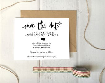 Oklahoma Wedding Save The Date Printable Postcard Template / Instant Download / Destination Wedding State Icon Print At Home Card