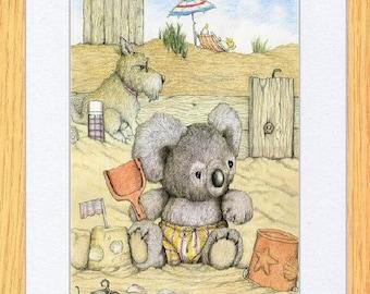 Baby Koala On The Beach Art print by Kevin Wood
