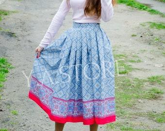 Cotton Pleated Midi Skirt Woman Summer Blue skirt