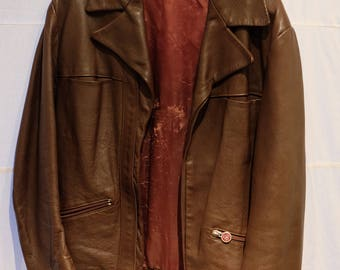 Vintage 1970s Brown Leather Bomber Jacket by Areitio, Size 6-10