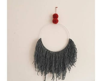 Pompom Wallhanging / wall hanging red grey