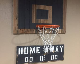Basketball Hoop: Reclaimed pallet wood basketball hoop w/ high quality rim. CUSTOMIZE w/ paint, stain colors. Wall mounting hardware inc.