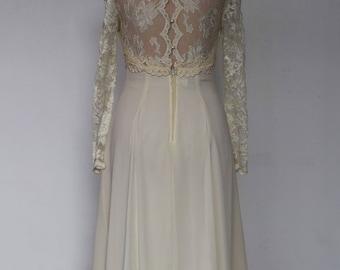 """A Vintage Dress - """"Luna"""" 1980's Vintage Tea Length Bridal Gown."""