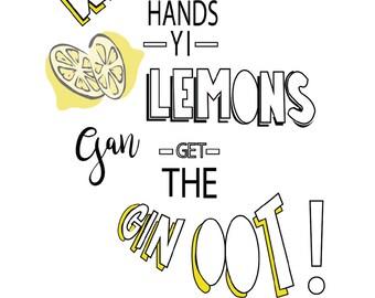 Lemon & Gin wall art, typographic poster