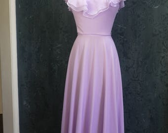 "1970s Lavender ""Diana"" Lace Dress"