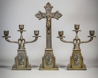 """16"""" Large Antique early 1900's Bronzed Metal Altar Crucifix Set with Two 3 Tier/ Arms Candelabras Jesus Christ Standing Religious Cross 1"""