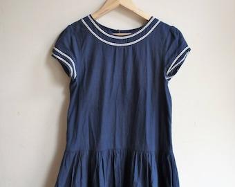 NAVY BLUE DRESS with white trim, size S/M
