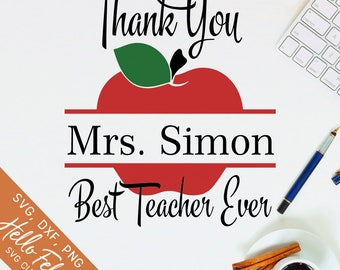 Teacher Svg, Teacher Gift Svg, Best Teacher Ever Svg, Apple Svg, Dxf, Jpg, Svg files for Cricut, Svg files for Silhouette, Vector Clip Art