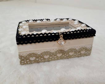Wooden Decorated Jewellery box - Black