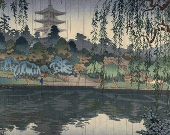 "Japanese Art Print ""Kofukuji Temple in Nara"" by Tsuchiya Koitsu, woodblock print reproduction, asian art, cultural art, rain, pond, rainfall"