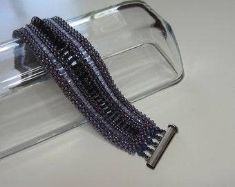 Prom bracelet, Purple Rain bracelet, Prince Bracelet, gifts for her, beaded bracelet, beadwoven cuff bracelet, statement bracelet