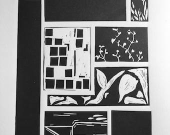 Black and White linocut