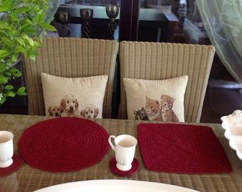 Crochet PATTERN Placemat Set N 133 TABLE DECOR