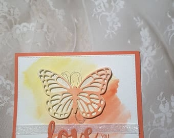 love you butterfly card
