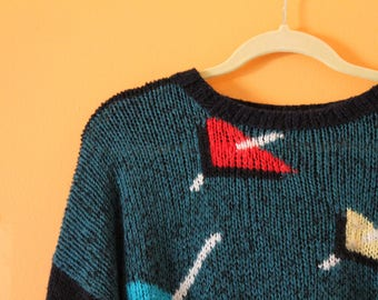 Vintage Red, Teal, and Yellow Patterned Geometric Sweater