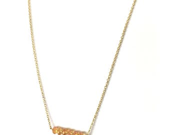Orange Crystal Bar Necklace with Gold Chain