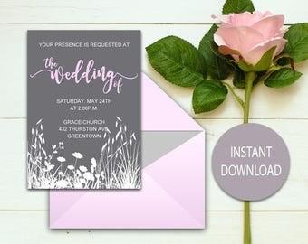 Wedding Invitation - PRINTABLE - Wedding Invitation Template - RSVP - Detail Card - Editable Text - PDF