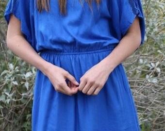 Cold Shoulder Dress- Blue