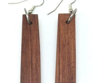Little timbers, thick Mahogany, long dangling earrings