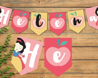 Pennants - Printable pennant Banner - Snow White banner - Birthday Party decoration