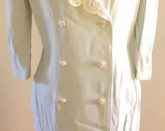 Lite Blue lace flower detail 80's coat dress