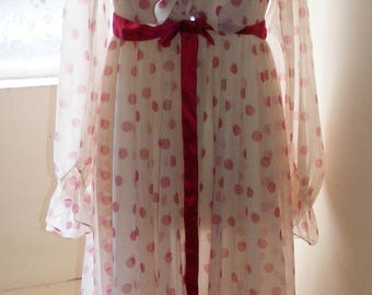 Gorgeous White & Pink Polka Dot Sheer Nightdress Gown by Martin Emprex for The Switch - 1970s - UK size 12