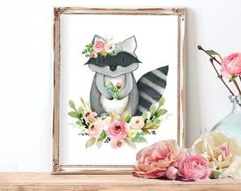 Animal Nursery Wall Art, Watercolor Nursery Print, Woodland Nursery Art, Instant Download Nursery Art