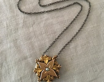 Necklace of Vintage Victorian scroll work centerpiece with star shaped focal point and pearl center