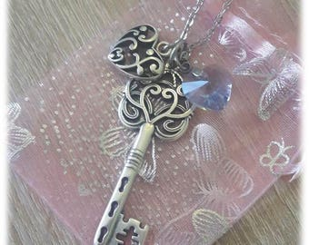 Key and charms metal and swarovsky Crystal heart pendant necklace