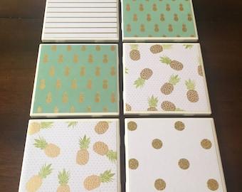 Set of 6 Pineapple Coasters