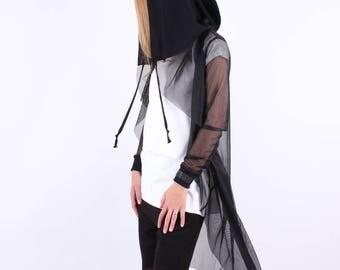 Long Sheer Hooded Cardigan / Flowing Sheer Cardigan / Net Cardigan / Net Hooded Cardigan / Net Black Jacket / Asymmetric Oversized Cardigan