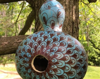 Hand Decorated Gourd Birdhouse