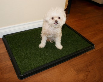 Pet Pee Turf & Tray. Artificial turf with sturdy tray for Indoors/Outdoors. America's most popular Dog potty system- Lead Free and Pet Safe!