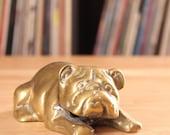 vintage brass bulldog figure . solid brass paperweight