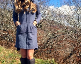 The Rivers Edge dress in knee length. Organic hemp fleece. Made to order.