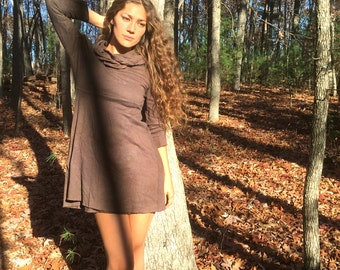 Follow your Heart Above the knee Hooded Dress in Organic Hemp Jersey (short sleeves). Made to order.