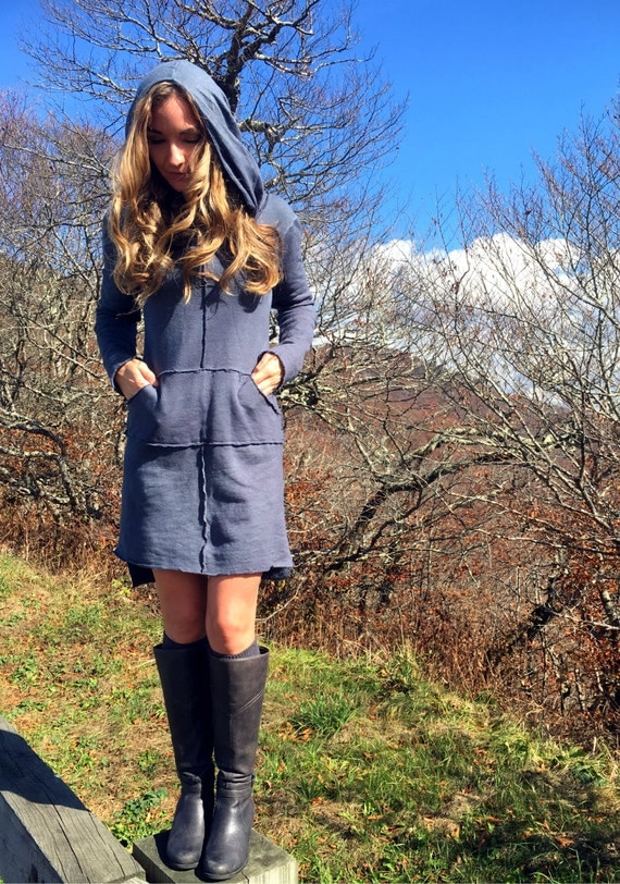 The Rivers Edge dress in knee length. Organic hemp fleece. Made to order.
