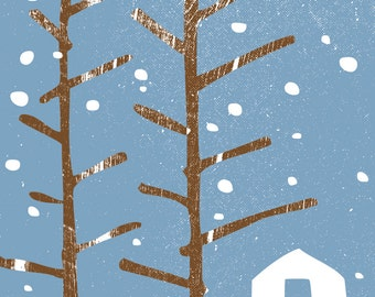 Greeting Card Stationery - Snowy Winter Cabin Note Card - Snow Barn Holiday Card - Trees and Snow -  Blank Inside