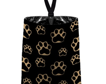 Car Trash Bag // Auto Trash Bag // Car Accessories // Car Litter Bag // Car Garbage Bag - Paw Print Brown Black Light Tan Dog Cat Pet